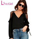 Girl Womens Tops And Blouses Plus Size Clothing Long Sleeve Ruffle Shoulder Chiffon Lace Blouse Femme Blusas Femininas