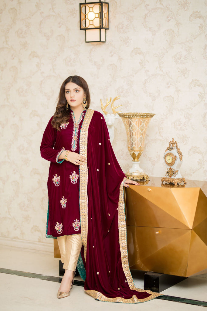 CHANDNI (BURGUNDY) | SHADMANI | RJ'S PRET