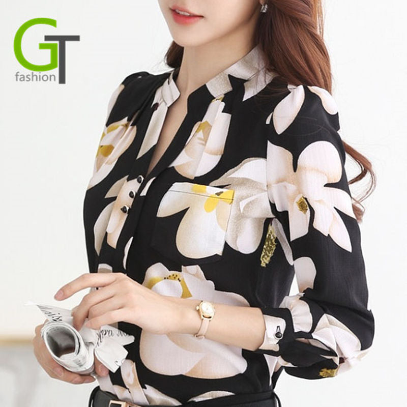 V-Neck Chiffon Blouse Formal & Casual Wear With Floral Print