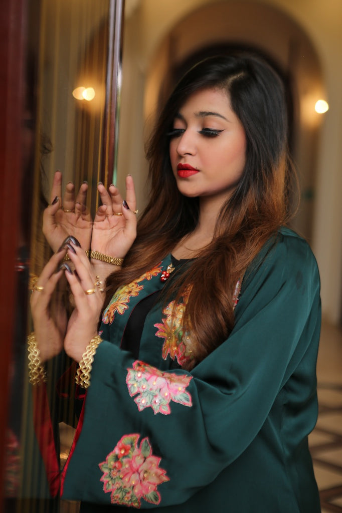 Emerald Green Crop cut Silk Gown with Camesole | Rj's Pret