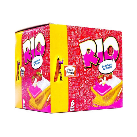 PEEK FREANS RIO STRAWBERRY & VANILLA HALF ROLL 6PCE