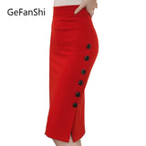 Open Slit Buttons Slim Pencil Skirt