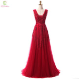 Lace Beading Backless Floor Length Party Dress