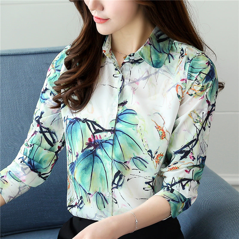Floral Printed Turn Down Collar Silk Blouses