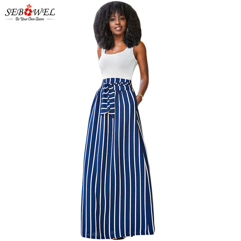 High Waist Ankle-Length Tie Knot  Vintage Style Maxi
