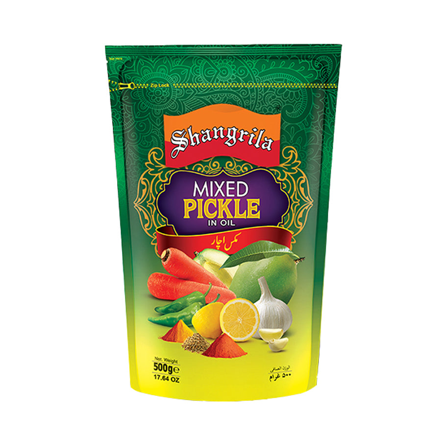 SHANGRILA MIXED PICKLE IN OIL POUCH 500 GMS
