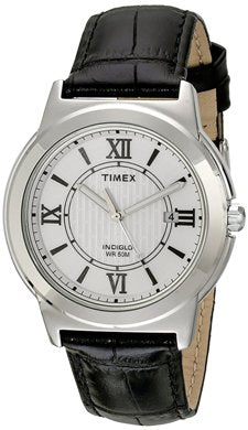 Timex Men's Classic T2P520 Black Leather Analog Quartz Watch