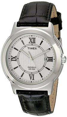 Timex Men's Classic T2P520 Black Leather Analog Quartz