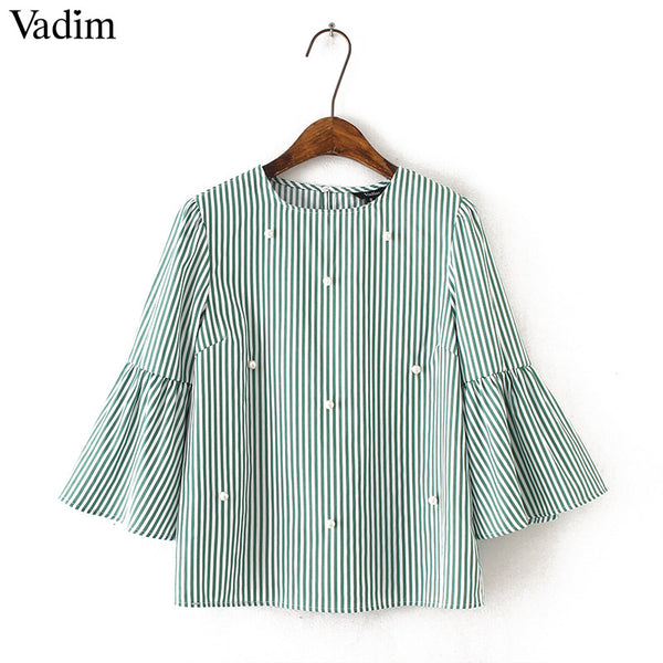 69e3f2083764e7 Stylish pearls beading striped shirts flare sleeve cute chic three quarter  sleeve blouse ladies fashion casual tops blusas