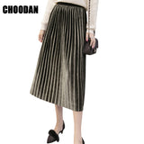 Calf Length Korean Style Pleated Skirt