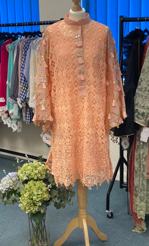 LACY DREAM KURTA-PEACH | RJ'S PRET