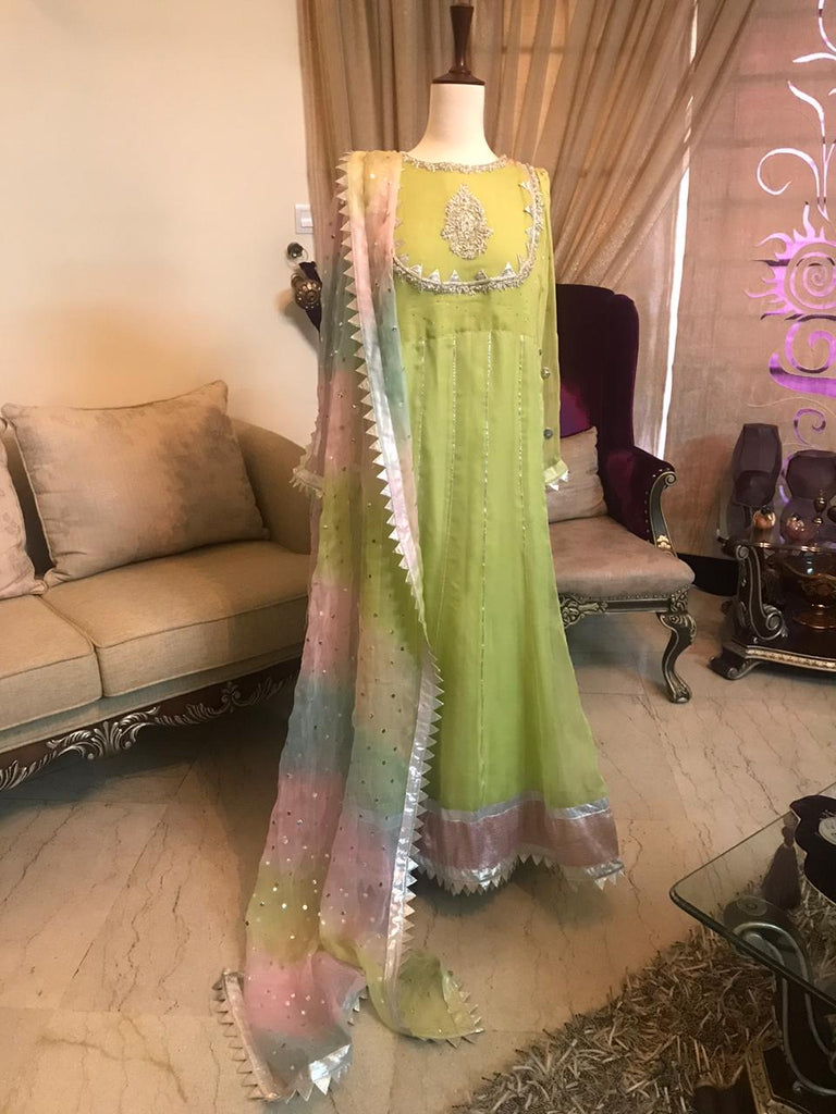 Lime Green Kaalidar Frock | RJ'S PRET