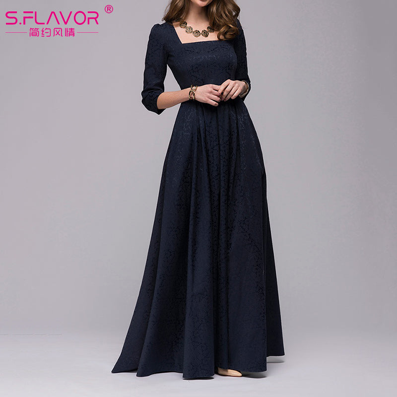 Vintage Style Three Quarter Sleeves Square Collar Ankle Length Frock