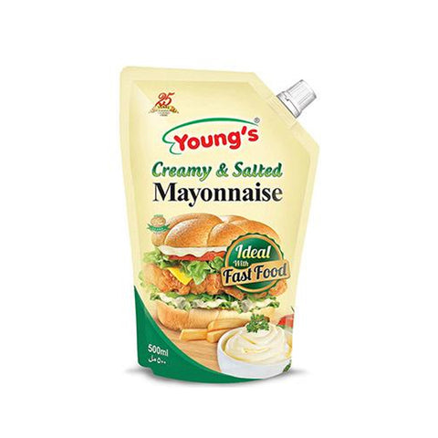 YOUNG'S CREAMY & SALTED MAYONNAISE POUCH 500 ML