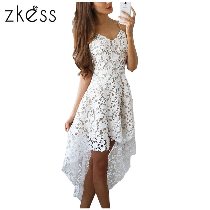 Lace Beading Long Back Bottom Hollow Out Casual Dress