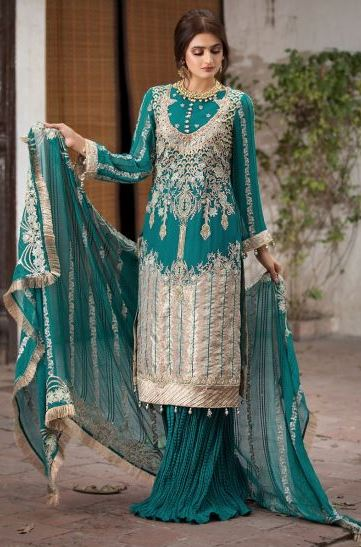 Motifz Luxury Collection'2020 2355-BERYL-BROCADE EMBROIDERED CRINKLE CHIFFON