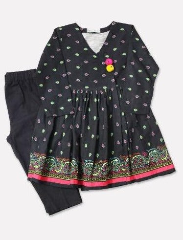 Minnie Minors Digital Printed Kurti with Shalwar DGKS-046-BLACK-7000000165608