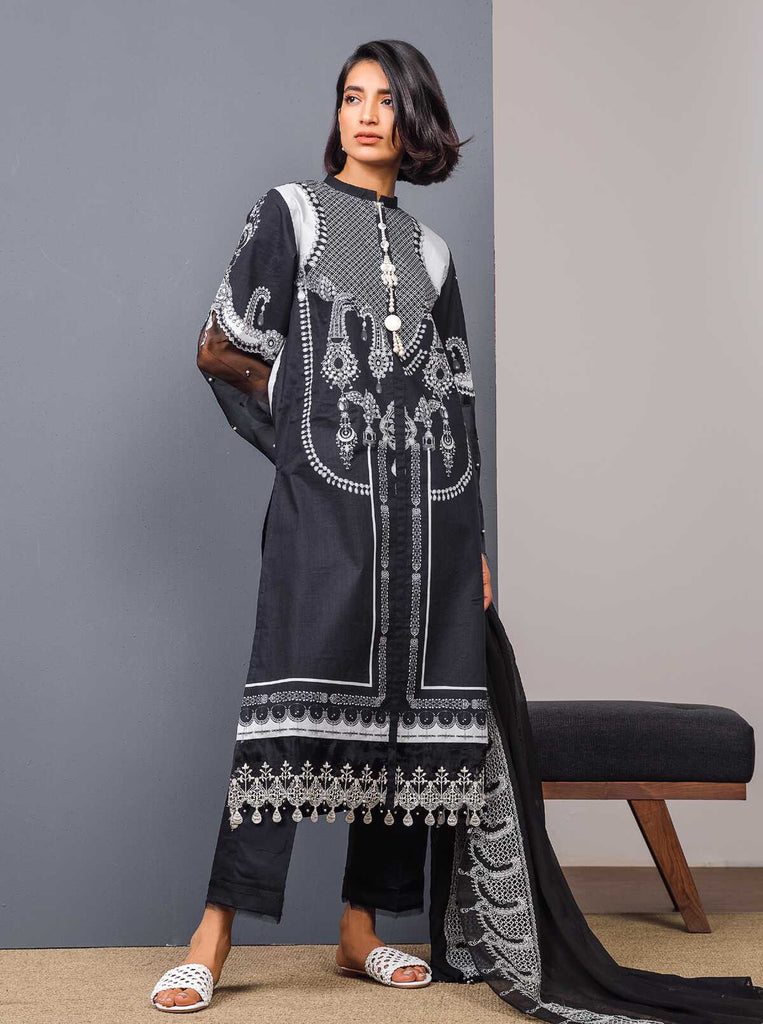 BEECHTREE Black & White Collection'19 Midnight Trinket (Lawn - 3 Piece)