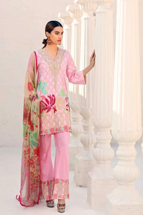 Charizma Lawn Embroidered Reem Vol-1 2020 T PINK RM-08