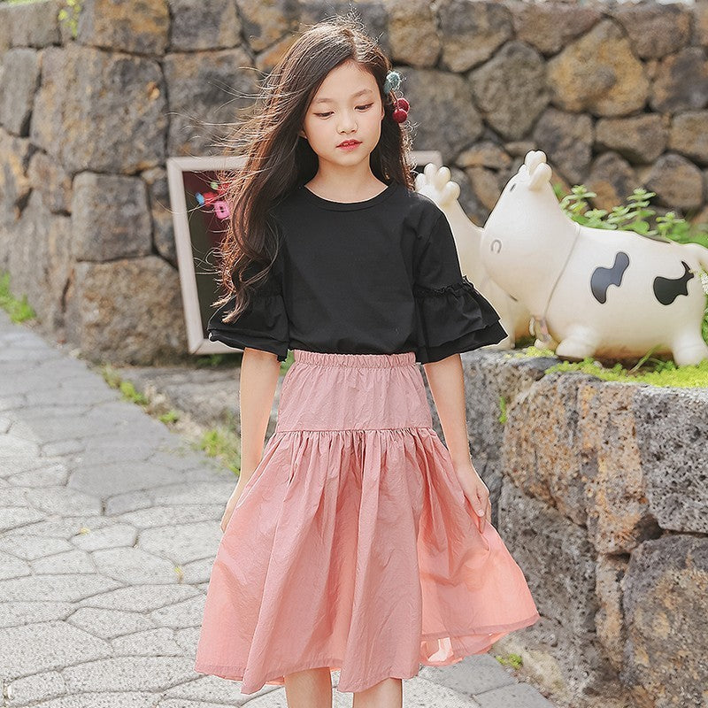 95a7ed7efee1 Casual Ruffle Skirt With Flare Sleeves Blouse Set for 6 To 14 Year Girls