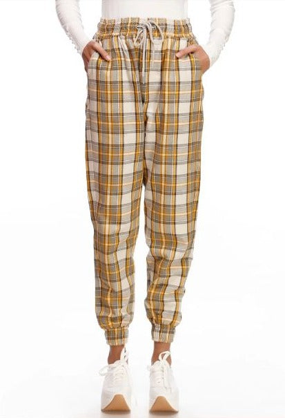 CHECKERED WOVEN JOGGER PANTS  Code: 20FWP480-00S-YGY