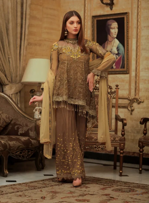 Areesha Embroidered Chiffon Vol-5 Collection'19 ETERNAL BROWN (005)