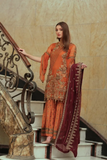 Areesha Embroidered Chiffon Vol-5 Collection'19 EMERALD APRICOT (007)