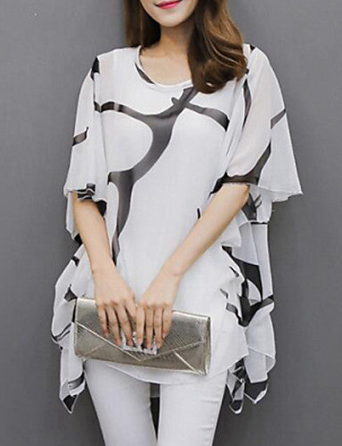 Women's Plus Size Batwing Sleeve Polyester Loose Blouse Pleated Print