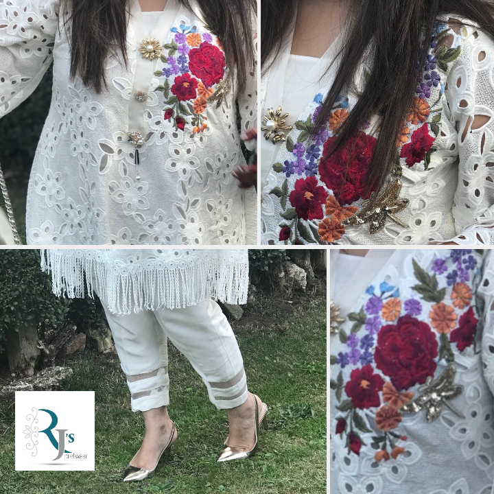 White Floral Dress  with hand embroidery | Rj's Pret Collection
