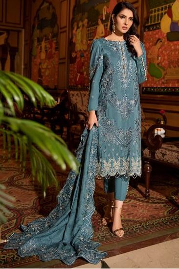 Motifz Premuim Embroidery 2372-AZURE-VAULT EMBROIDERED KARANDI UNSTITCHED