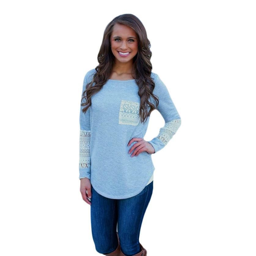 Round Neck Long Sleeve Shirt with Lace designing