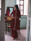 Qalamkar Luxury Velvet Collection'19 Red- QWV03