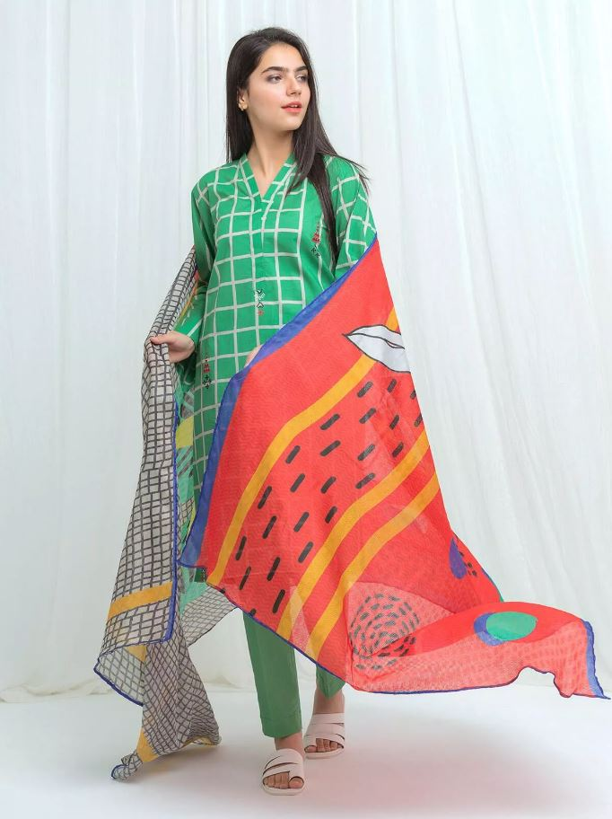BeechTree Eid Collection'20 EMERALD GRID - 3 Piece