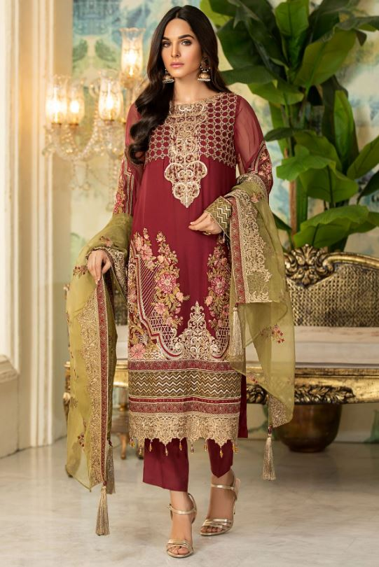 Motifz 2334-OLD-ROSE EMBROIDERED BEMBERG CHIFFON UNSTITCHED