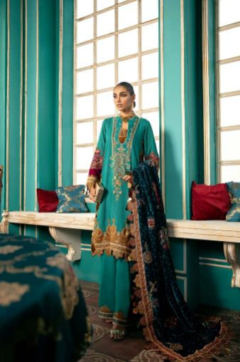 Charizma A Sweet Symphony Masori Suit with Embellished Velvet Shawl Collection'20 Aqua Sky CMK-05