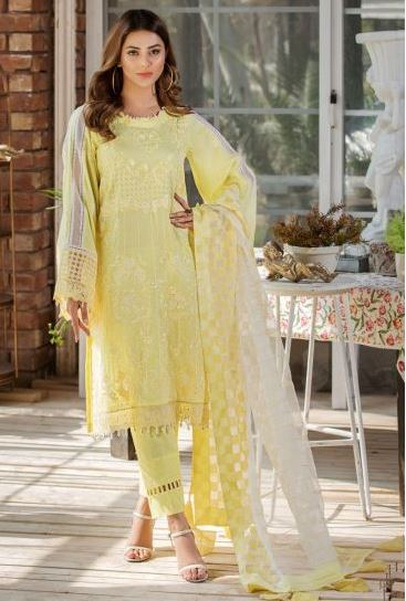 2454-DAISY-YELLOW EMBROIDERED LAWN UNSTITCHED