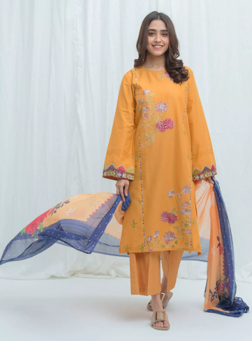 BeechTree Spring Summer Lawn Collection'21 VOL-02 Royal Mustard-Embroidered-2P
