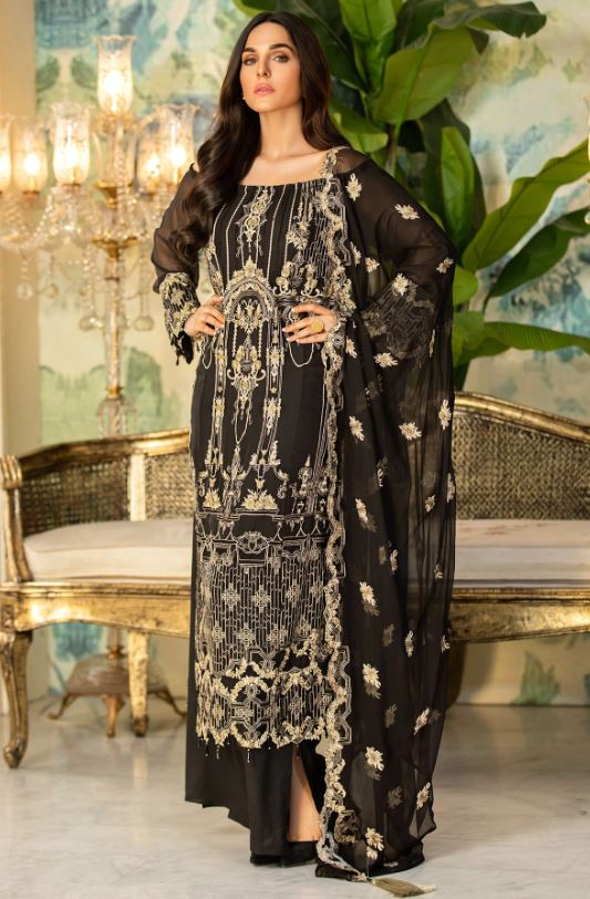 Motifz 2336-PIRATE-BLACK EMBROIDERED BEMBERG CHIFFON UNSTITCHED
