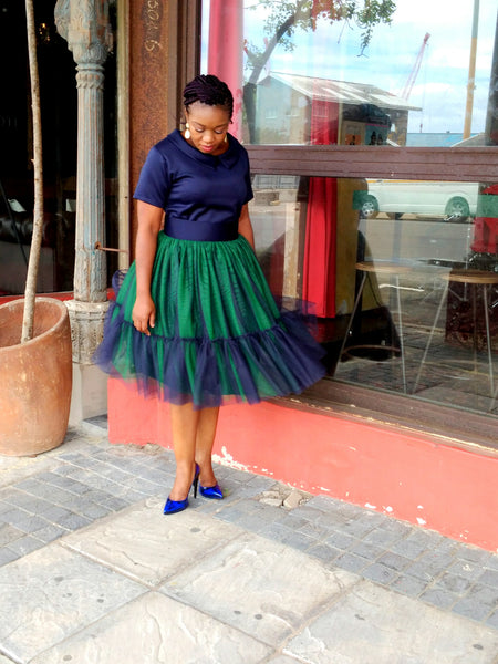 Navy/Green Tulle Skirt and Top