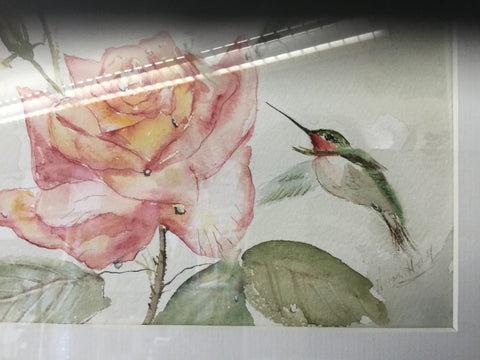 """Rose & hummingbird"" watercolour framed in silver metal"