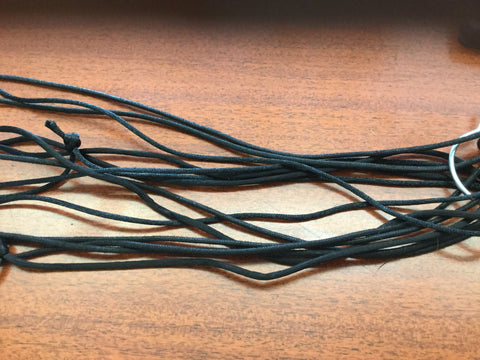 Black satin or cotton cord tied note
