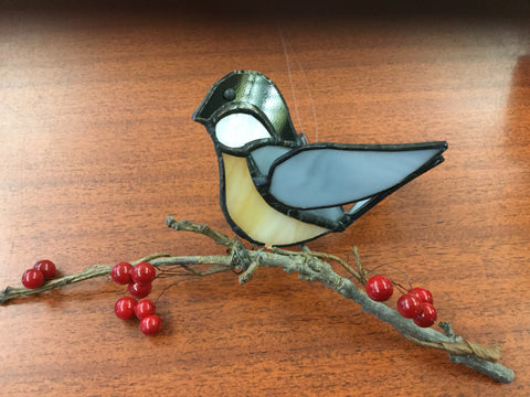 3-D Chickadee stainglass on a branch