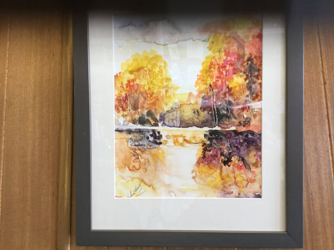 """Autumn"" watercolour on Yupo framed"