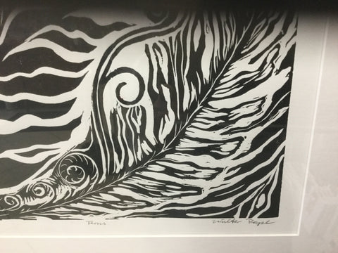 """Ferns""4/6 Lino cut print framed"