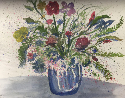 Blue vase and flower painting