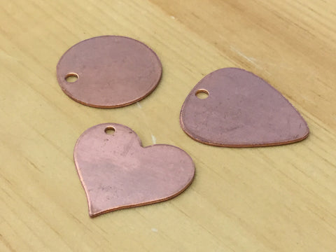 "Copper 1"" tags with hole"