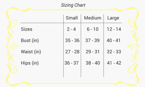 Sizing Chart Amarello Boutique