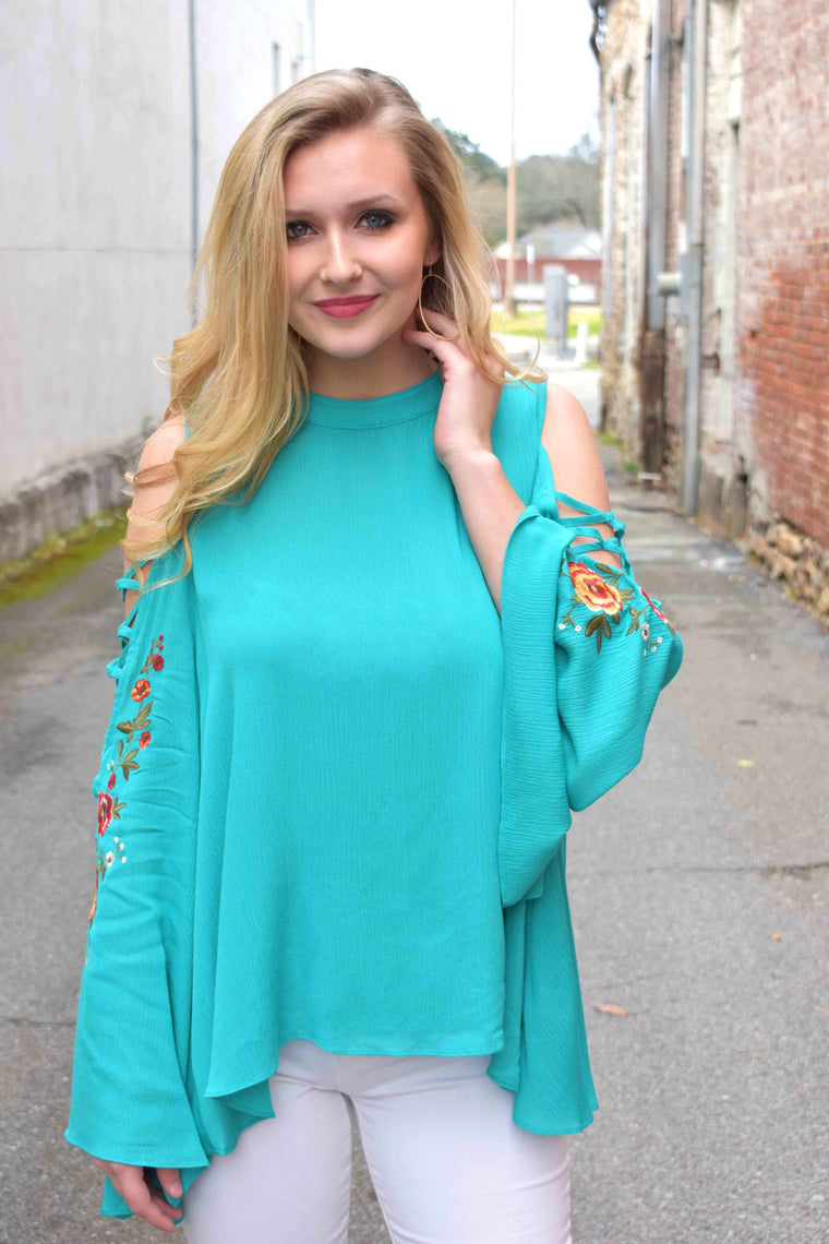 Southern Bell, Bell Sleeve Top - Emerald