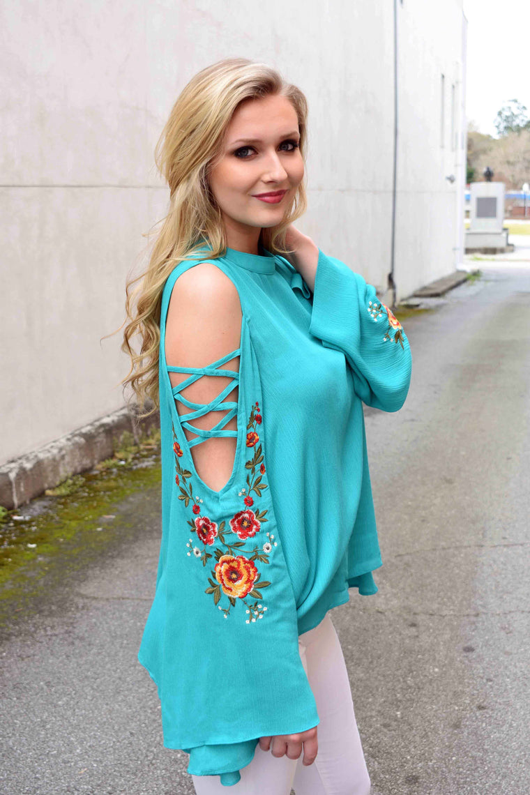 Southern Bell, Bell Sleeve Top - Emerald - Amarello Boutique