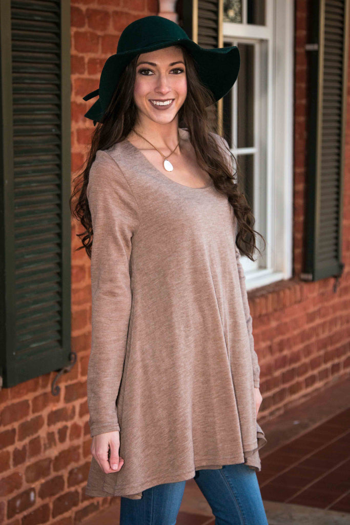 Layers of Luck, Long Sleeve Layered Flare Dress/Tunic - Mocha - Amarello Boutique